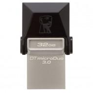 Memorie USB 3.0, microUSB 3.0 KINGSTON 32 GB, Profil mic,  OTG, Argintiu & negru, Carcasa metal & plastic