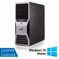 Workstation Dell T5500, Intel Xeon Quad Core E5630 2.53GHz-2.80GHz, 8GB DDR3, 500GB SATA, AMD Radeon HD 7350 1GB GDDR3 + Windows 10 Home